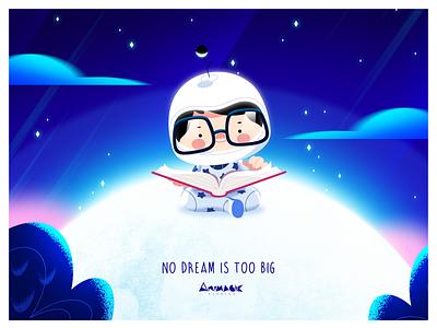 NO DREAM IS TOO BIG. animagic story digital imagination characters nightsky art stars space childhood logo design illustration animation