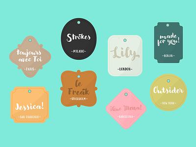 Labels - Modern Love calligraphy etiquette labels type font