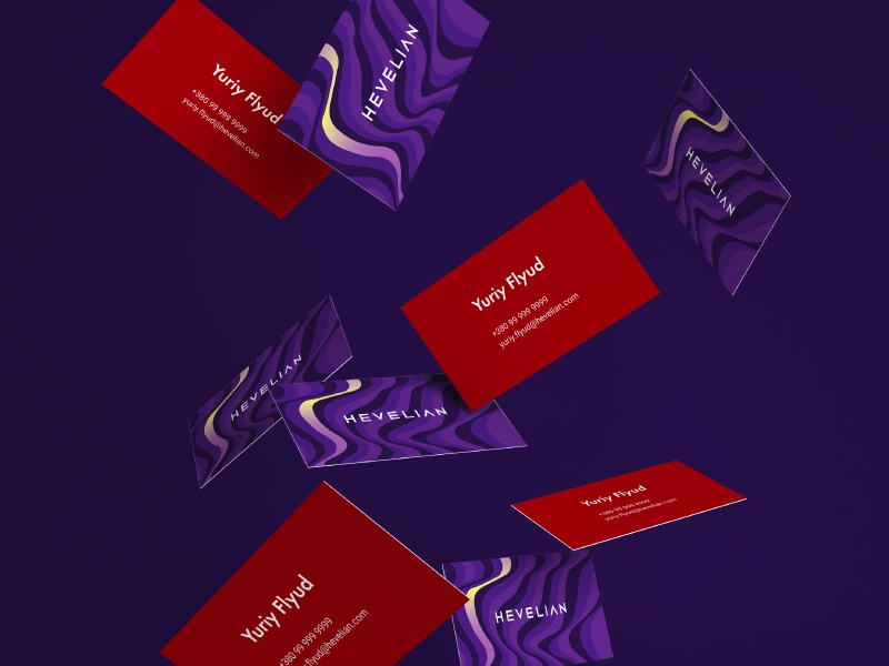 Hevelian brand identity information technology it polygraphy buisness card gradient purple brand identity brand design branding brand identity
