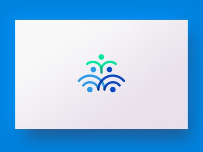 Networking communication logodesign simple network support work logotype icon blue logo people mark networking