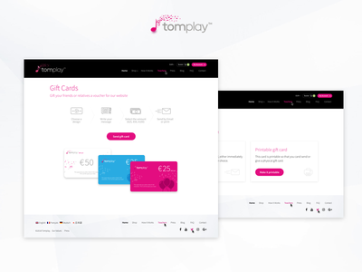 Tomplay - Gift Cards buying process web ux ui digital uxdesign uidesign