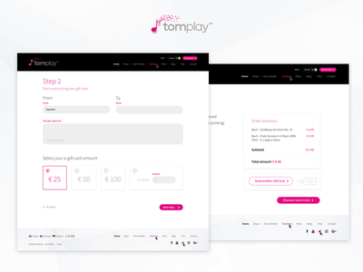 Tomplay - Gift Cards Process uxdesign web ui uidesign ux gift cards design digital