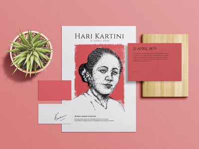 Hari Kartini branding design minimalist composition layout illustration