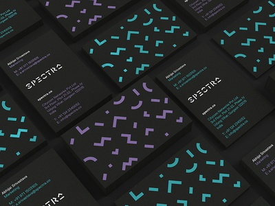 Spectra Business cards typography geometric typography geometric spectra india telecom stationery business card colour pattern branding