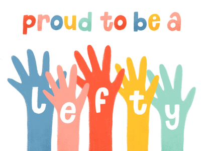 Proud to be a lefty! rainbow . texture childrens illustration illustration