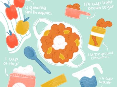 Apple Crisp Recipe procreate illustrationchallenge recipe editorialillustration illustration