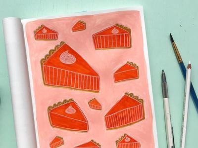 Pumpkin Pie sketchbook gouache pumpkin illustrationchallenge editorialillustration illustration
