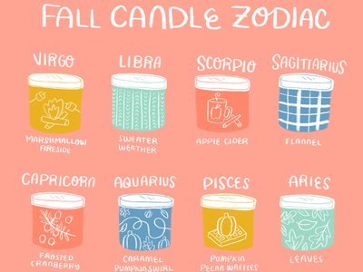 Fall Candle Zodiac fall candle colorful texture illustration editorialillustration