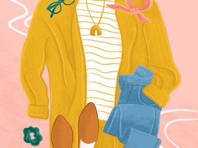Outfit of the day fashion colorful fall illustration editorialillustration ootd