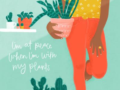 Plants Give Me Peace handletteredtype plants editorialillustration illustration
