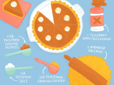 Pumpkin Pie Recipe food recipe editorialillustration illustration