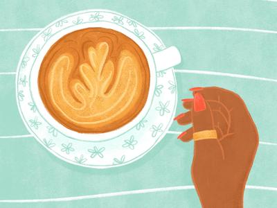 Cafe Au Lait hands coffee latte editorialillustration illustration