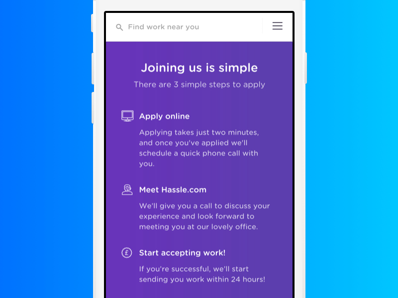 Joining us hamburger menu mobile first mobile 3 steps steps apply online joining join us