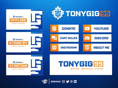 Tonygig99 Twitch Stream Branding brand branding drcrack ui ux gaming twitch package twitch design
