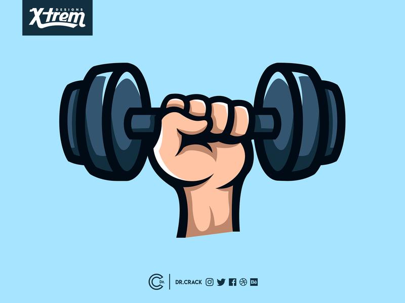 Dumbbell Emote lifting weight gym streaming esports brand logo mascot illustration twitch emote dumbbell