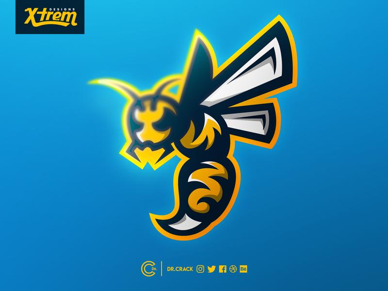 Wasp Mascot Logo hornet bee logo bee wasp logo wasp esports esport branding mascot logo mascot dr.crack gaming drcrack brand logo