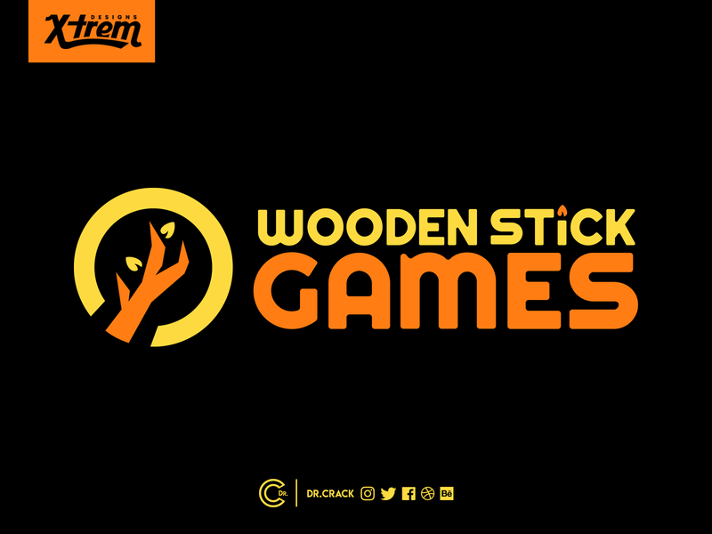 Wooden Stick Games Logo video games indie studio icon symbol wordmark brandmark brand logo games gaming
