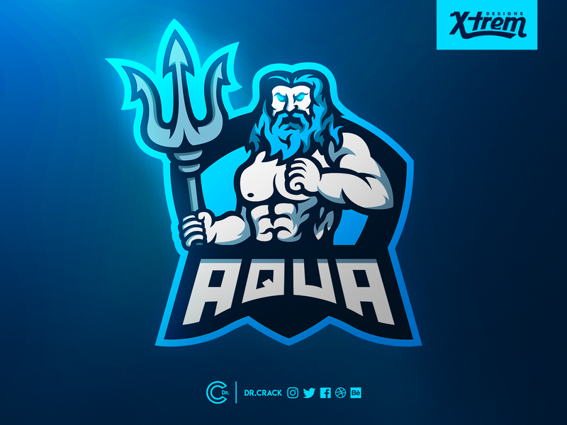 Poseidon Mascot Logo gaming logo neptune poseidon gaming badge esport branding mascot logo mascot esports brand logo