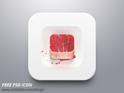 Free Psd Icon / Meat on Plate meat free icon free freebie icon plate shadow free psd practice psd
