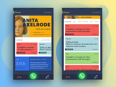 Mobile app for CRM screen. calling ux ui mobile ios crm call app android