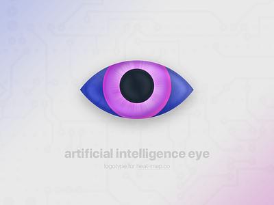 Logotype for Heat-map.co watch look artifical intelligence heat map heat-map ai logotype logo icon eye
