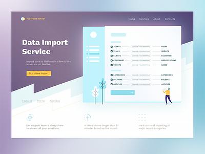 Platform Import web landing blue violet hero ui ux app nice light