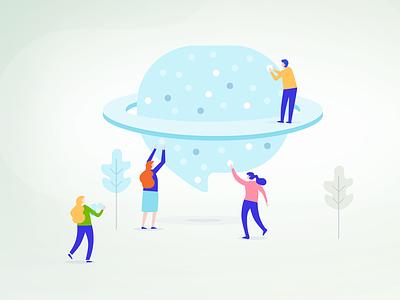 About Us - Illustration about illustration people bulb teamwork app web landing green blue