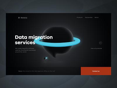 Relokia - Home Page help desk ecommerce webdesign design ux ui dark back data r landing web