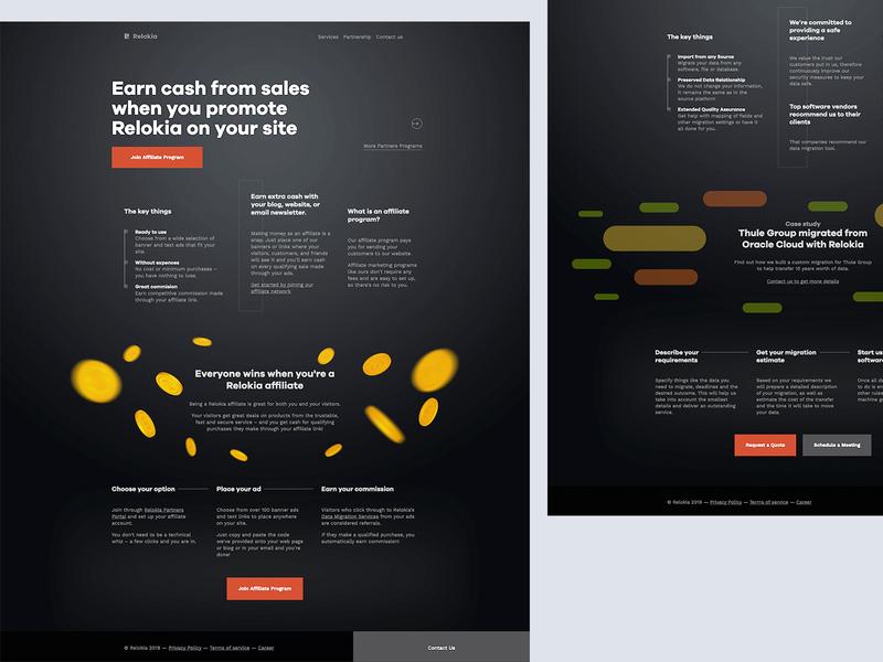 Relokia - Partners black dark landing illustration flat web design icons ux ui icon