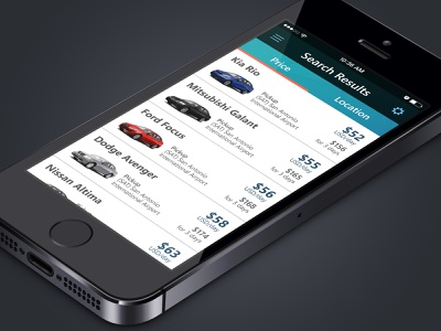 Rental Car App Results mobile app ui design