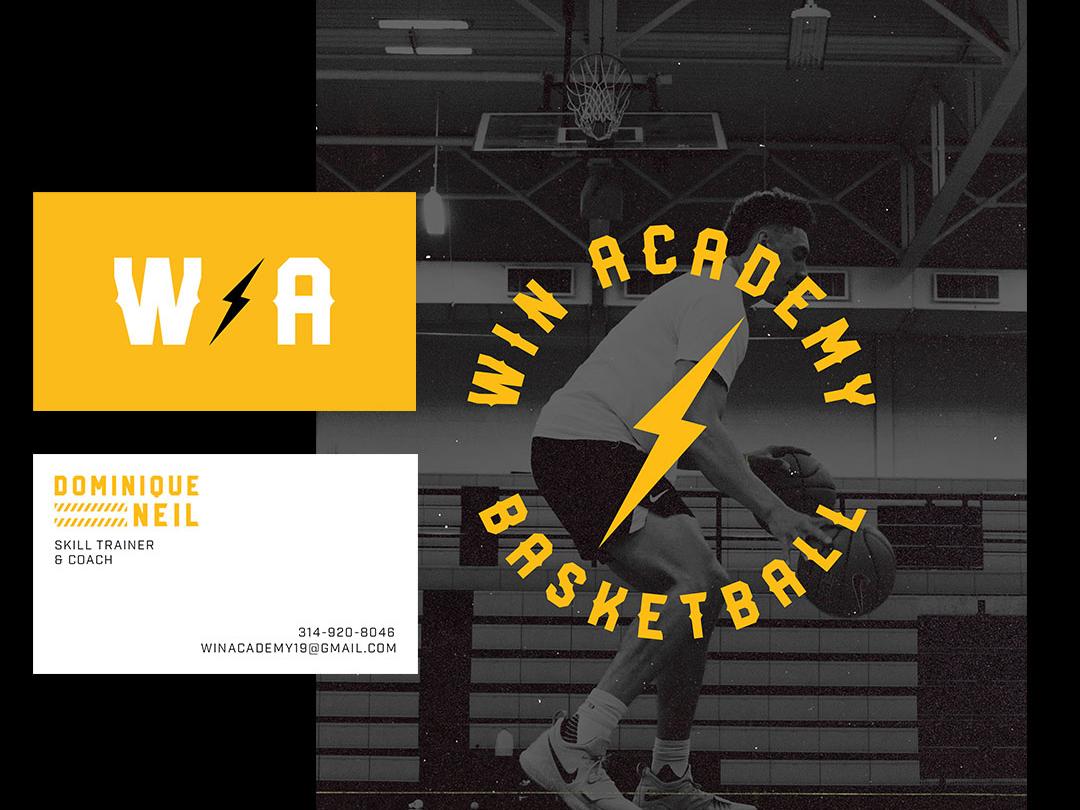 W.I.N. Academy Stationery lighting bolt graphik poster bussiness card basketball gym fitness vector icon design nike logo identity branding