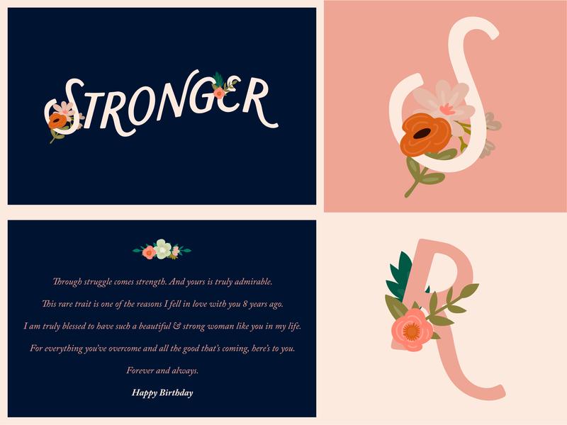 Stronger ( Birthday Card ) wordmark logo logotype strong wordmark floral design flowers flower floral card design card birthday card birthday icon design illustration typography design vector identity logo branding