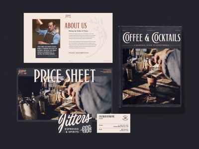 Jitters Brand Updates business card book branding texas espresso cocktails coffee