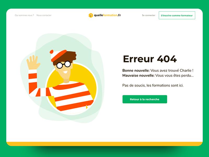 Quelle formation - Error 404 error page waldo found you flat vector branding illustration ui error 404