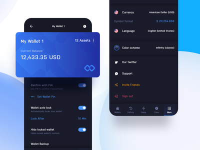 Infinity Wallet - Wallet settings dark dashboard crypto exchange platform exchange ethereum shardax shard bitcoin cryptocurrency crypto wallet crypto digital ux appdesign app design ui