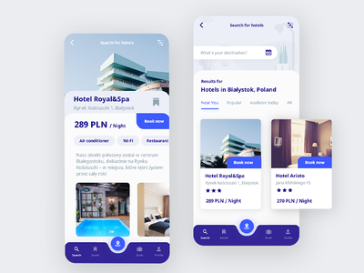🛌 Hotel Booking cards flat swipe hotel booking booking hotel blue white ux ui bright app