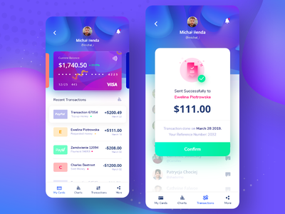 💳 Banking App digital illustration ux transfer money banking app bank app purple blue gradient gradients app designer ui