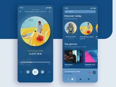 🎶 Music app design 🎶 product design genres play ui ux ios android mobile app taco music streaming pantone