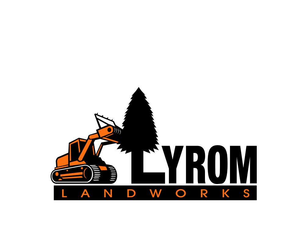 Lyrom Landworks Logo Proposal tractors tree tractor forestry forestry mulcher logo illustration retro