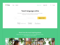 Landing page for online tutors