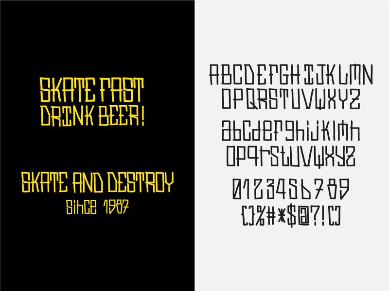 SW Type skateboard typogaphy type