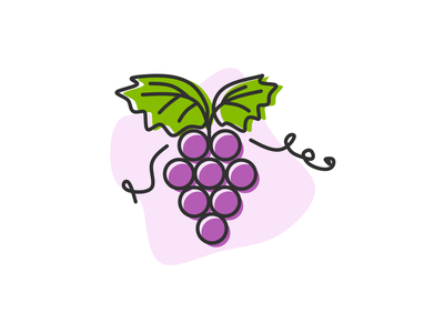 Grape simple illustration grape illustration fruit illustration sweet organic nature wine purple grapes grape fruits and vegetables online vector illustration vector art outline flat illustration food fresh fruits flat illustration icon illustration