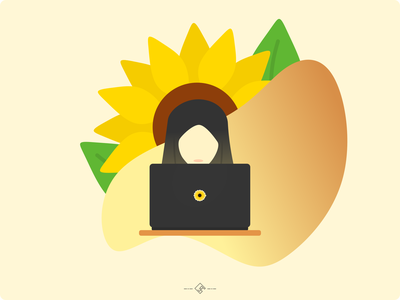Auringonkukka inkscape linux laptop tech nature summer yellow vector illustrator design auringonkukka islam moslem hijab girl woman vector illustration vector sunflowers sunflower flat illustration illustration