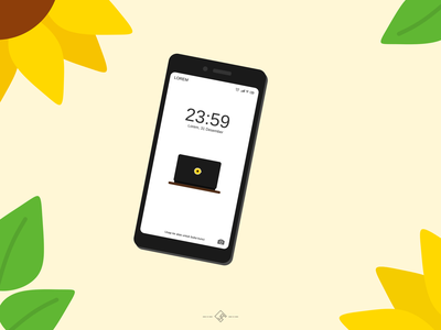 Auringonkukka (on phone) device android illustrator design fresh summer flower black yellow wallpaper tech laptop mobile phone phone sunflowers sunflower vectorart vector design vector illustrator illustration