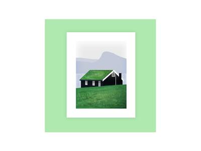 Little House in Faroe Islands illustrations landscape illustration house illustration house postcard northern europe denmark europe faroe islands krita illustrator landscape nature inkscape illustration