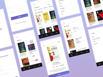 Library App Concept library book lover book purple mobile app bookworm library app mobile library app book app