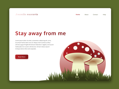 Amanita (muscaria) Landing Page figma nature landing page nature web design illustration mushroom landing page landing page illustration mushroom illustration toxic haunted forest mario bross red mushroom amanita amanita muscaria red fungi fungi mushrooms mushroom