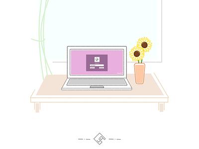 Login Session inkscapedesign inkscape ubuntu softcolor laptop illustration