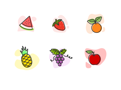 Fruits outline flat illustration outline illustration outline flat fruits icon lineart softcolor fruits pineapple orange strawberry apple watermelon grape icon inkscape illustration
