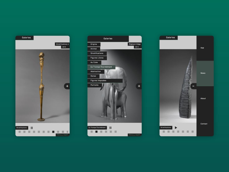 Patrick Roger sculptures ui web design